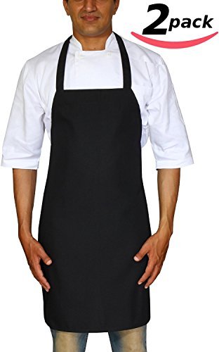 Bistro-Garden-Craftsmen-Professional-Bib-Apron-Black-Spun-Polyester-Set-of-2-Durable-Comfortable-Easy-Care-Restaurant-Commercial-Waitress-Waiter-Aprons-Black-32-x-28-by-Utopia-Wear-0