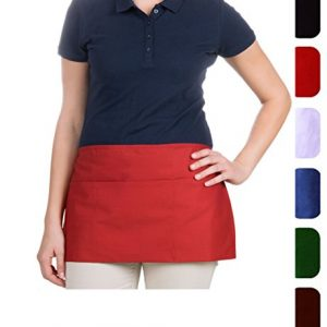 Waist-Aprons-with-3-Pockets-12x23-MHF-Brand-1-Piece-Pack-New-Spun-Poly-Restaurant-or-Home-Kitchen-White-0